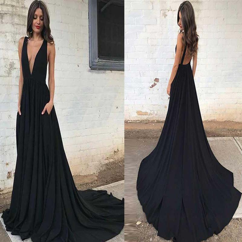 Classy Black Deep V-Neck Open Back A-Line Prom Dress With Trailing, Simple Prom Dress, VB0507 - Visionbridal