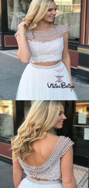 Charming Beading Cap Sleeve Two Pieces Long A-Line Tulle Prom Dresses With Lace, Prom Dresses, VB01545