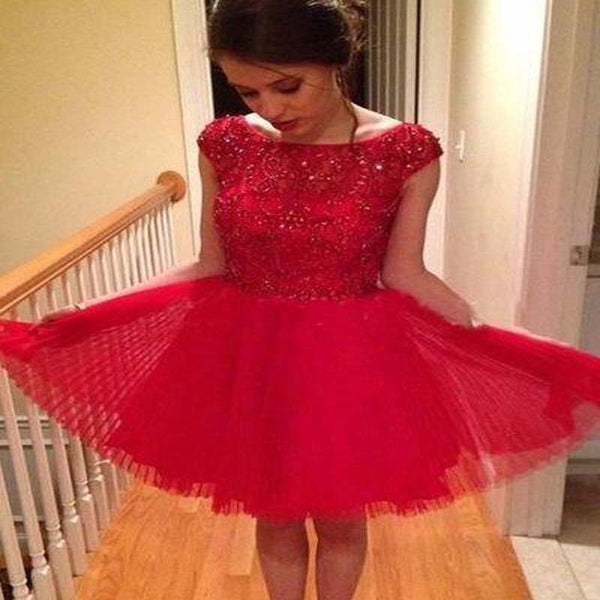 07bcf66e Sparkly Red Top Beading Cap Sleeve A-Line Short Tulle Homecoming Dresses, Homecoming  Dresses