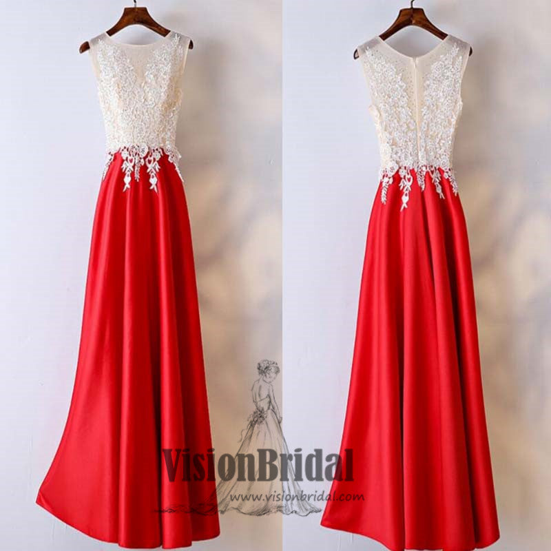 2018 Newest Scoop Neckline Lace Appliques Lace Up A-line Prom Dress, Charming Prom Dress, VB0397 - Visionbridal