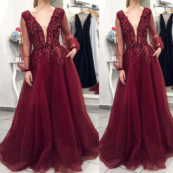 Charming Burgundy V-Neck Long Sleeve With Lace Long A-Line Tulle Prom Dresses, Prom Dresses, VB01540
