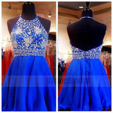 Shinny Halter Royal Blue Open Back Beading A-Line Homecoming Dress, Homecoming Dresses, VB0822