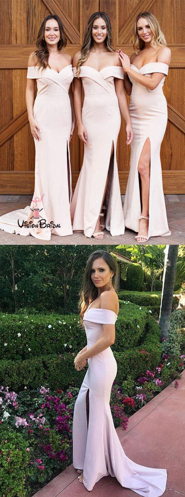 Elegant Off The Shoulder Long Mermaid Side Slit Bridesmaid Dresses, Bridesmaid Dresses, VB01640