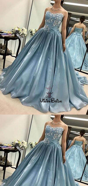 Charming Blue Sweetheart With Appliques Ball Gown Prom Dresses, Prom Dresses, Evening Dresses, VB01740