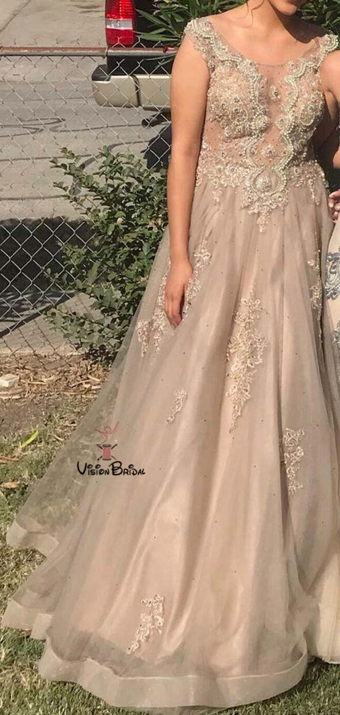 Charming Cap Sleeve Long A-Line Tulle Lace Prom Dresses With Beaded, Prom Dresses, VB01713