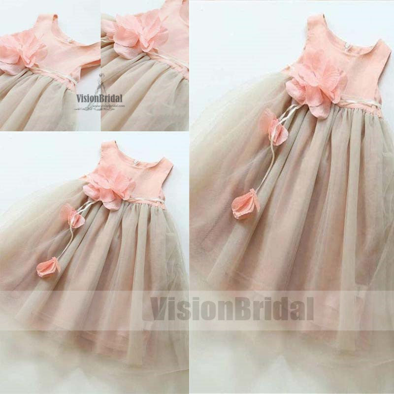 Cute Light Grey Knee-Length Flower Girl Dresses With Flower Appliques, Flower Girl Dresses, VB0788