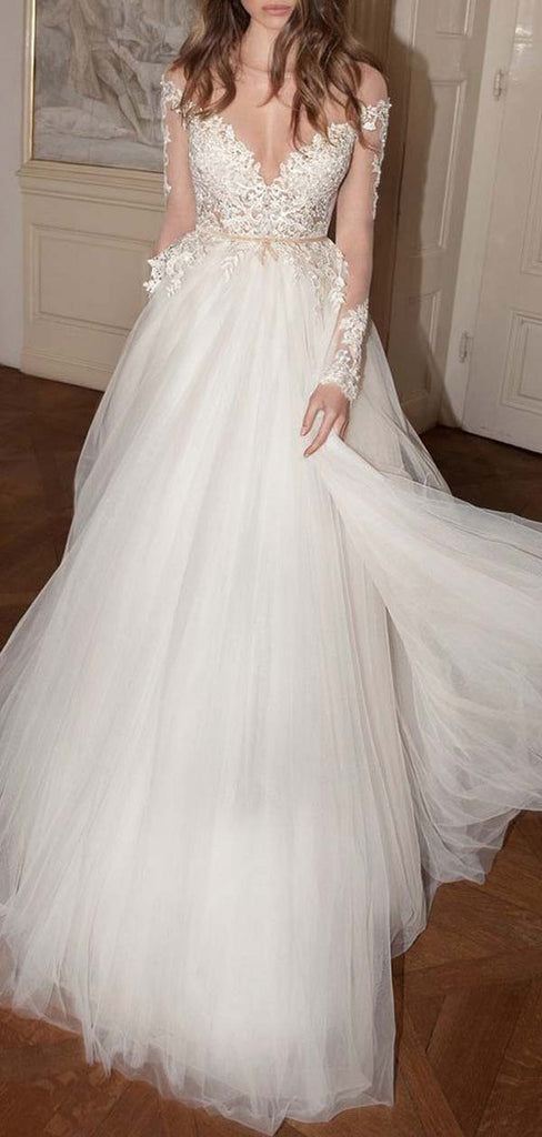 Charming Scoop Neckline Long Sleeves Backless Long A-Line Wedding Dresses With Lace Appliques, Wedding Dresses, VB01723