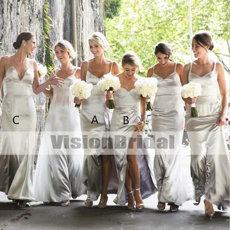 Mismatched Charming Sliver Floor-Length Bridesmaid Dresses, Beautiful Bridesmaid Dresses, VB0895