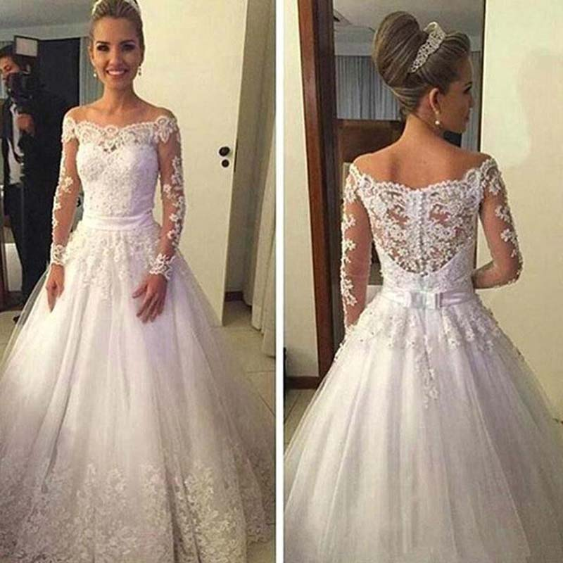 Cheap Off Shoulder Long Sleeve Covered Button Wedding Dresses, White Lace Tulle A-Line Floor Length Wedding Dresses, Beautiful Wedding Dresses, VB01007