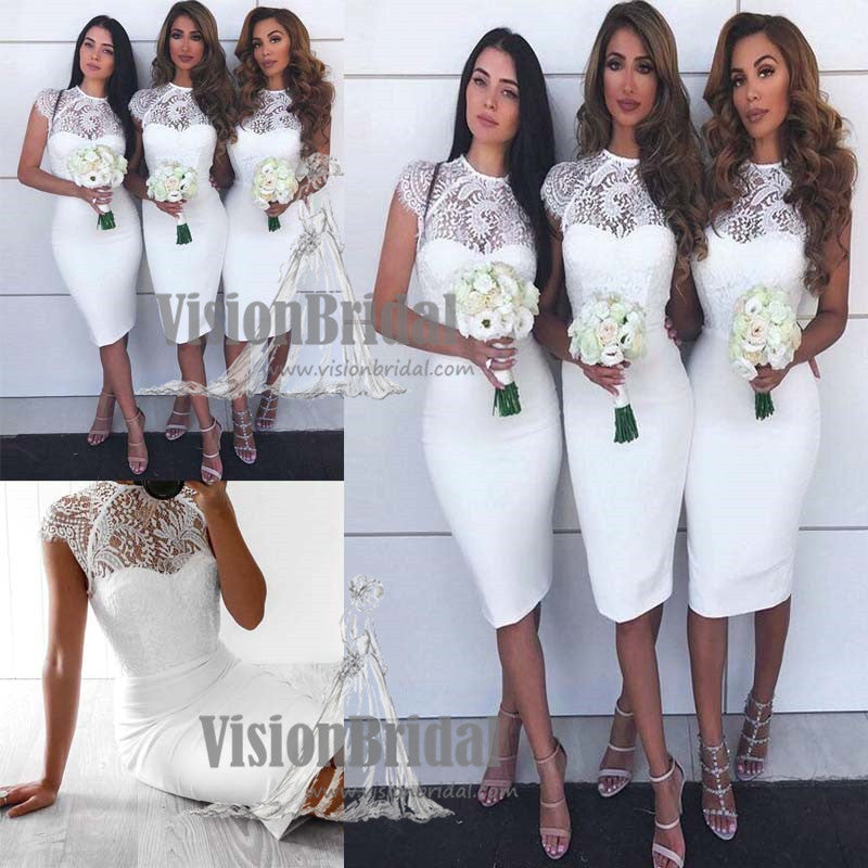 Charming White High Neck Cap Sleeves Lace Top Mermaid Bridesmaid Dress, wedding party dresses, VB0620