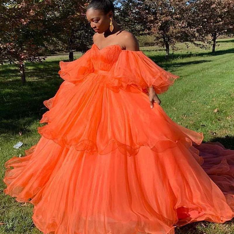 Simple Orange Sweetheart Cupcake Prom Dresses, A-Line Tulle Prom Dresses With Trailing, VB01618