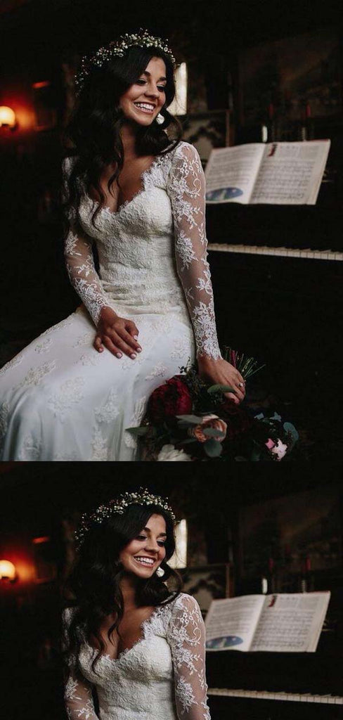Charming V-Neck Long Sleeve Long Mermaid Wedding Dresses With Lace Embroidery, Wedding Dresses, VB01725