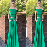 Green Off The Shoulder Two Pieces Floor Length Satin Prom Dress, New Prom Dress, Prom Dresses, VB0286 - Visionbridal