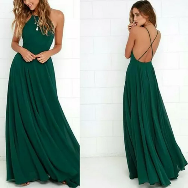 Simple Dark Green Straps Chiffon Custom Cheap Long Bridesmaid Dresses, Bridesmaid Dresses, VB0417