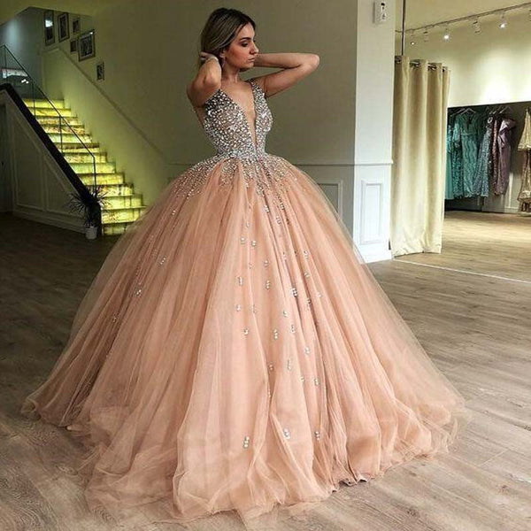 6e08b83a9fdfb Ball Gown Deep V-Neck Low Cut Champagne Quinceanera Dress with Beading, Prom  Dresses