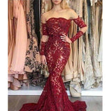 Alluring Burgundy Off Shoulder Long Lace Mermaid Prom Dresses, Prom Dresses, VB01927