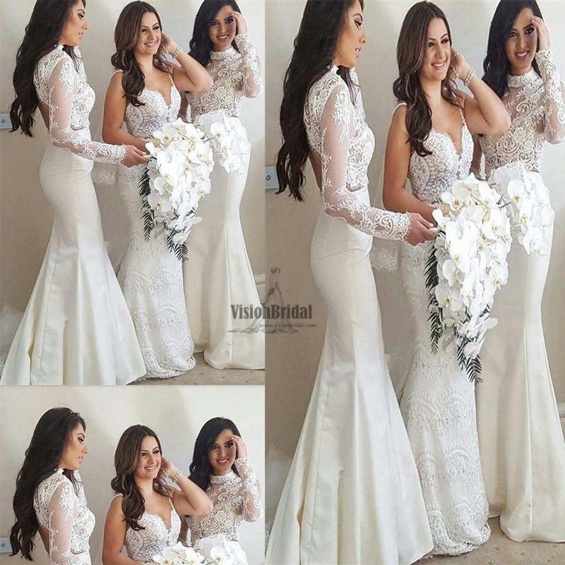 Elegant White High Neck Lace Top Long Sleeves Mermaid Bridesmaid Dresses, Bridesmaid Dress, VB0685