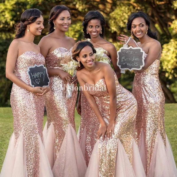 Sparkly Sweetheart Sequin With Tulle Mermaid Bridesmaid Dresses, VB03758