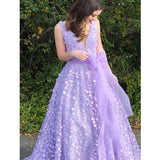 Elegant Lilac V-Neck Prom Dresses With Appliques, Prom Dresses With Bow-Knot, Prom Dresses, VB02046