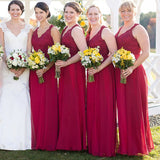 Burgundy V-Neck Lace Top A-Line Bridesmaid Dresses, Wedding Party Dresses, VB03816