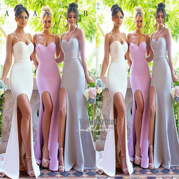 Sexy Mismatched Sweetheart Mermaid Side Slit Long Bridesmaid Dress, Charming Bridesmaid Dress, VB0550 - Visionbridal