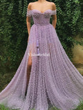 Unique Light Purple Off Shoulder A-Line Side Slit Prom Dresses, VB03663