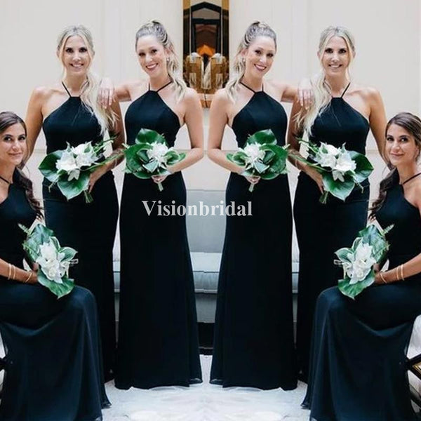 Alluring Halter Column Satin Chiffon Bridesmaid Dresses, VB02863