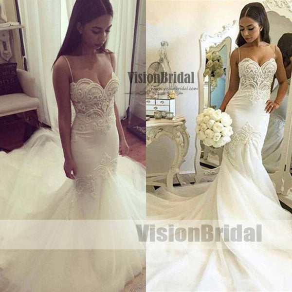 fdaeacd495674 Sexy Spaghetti Straps Lace Mermaid Wedding Dresses With Trailing ...