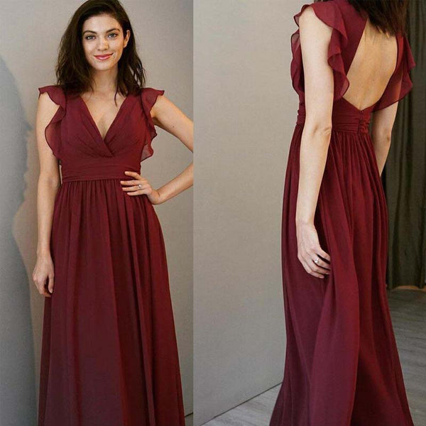 f54e2cf60 Elegant Burgundy V-Neck Cap Sleeve Long A-Line Chiffon Bridesmaid Dresses,  2019