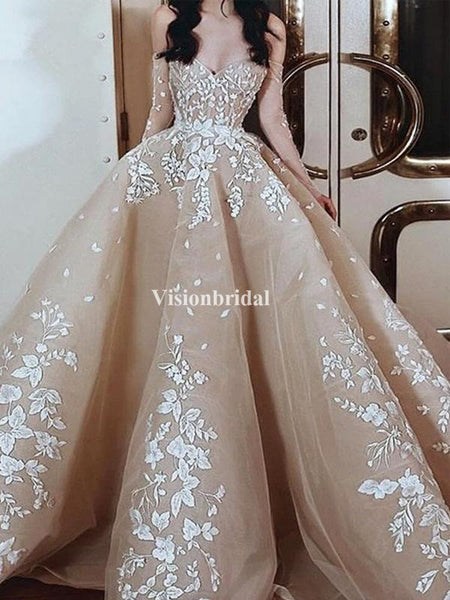 Gorgeous Off Shoulder Long Sleeve With Appliques Ball Gown Prom Dresses, VB03685