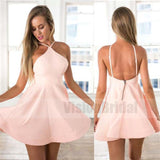 Amazing Halter Simple Spaghetti Strap Sexy Pink Backless cheap homecoming dresses , Homecoming Dresses, VB0745
