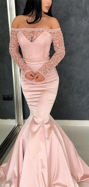 Charming Pink Illusion Off Shoulder Long Sleeve Long Mermaid Prom Dresses, Prom Dresses, VB01864