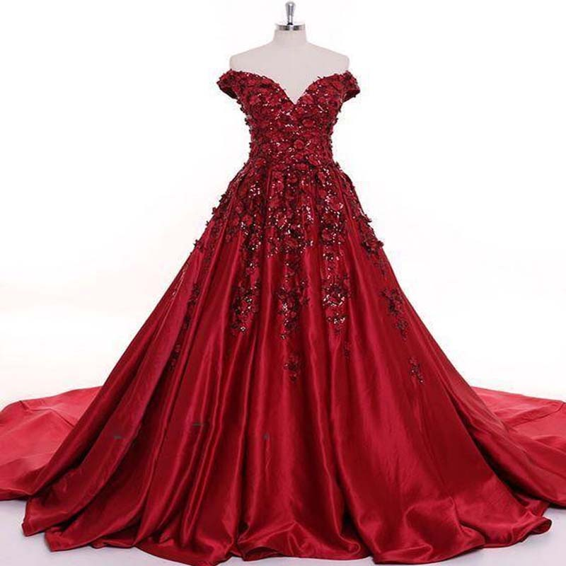 Red Off Shoulder Long A-Line Satin Prom Dresses With Appliques, Prom Dresses, VB01430