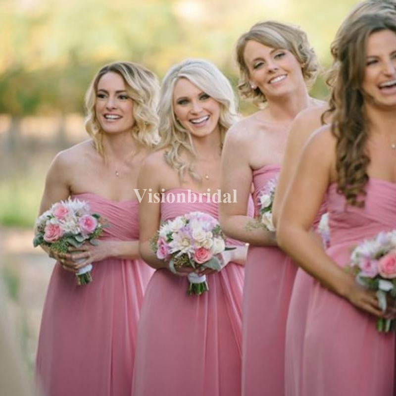 Simple Pink Top Pleated Sweetheart Chiffon Bridesmaid Dresses, VB03759