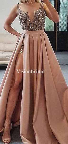 Alluring Straps Beading A-Line Side Slit Prom Dresses, PD0879