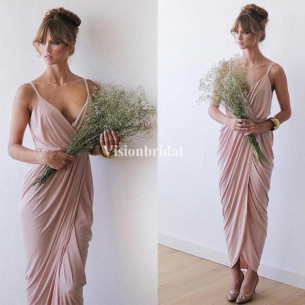 Alluring Spaghetti Straps Pleated Column Bridesmaid Dresses, VB02834