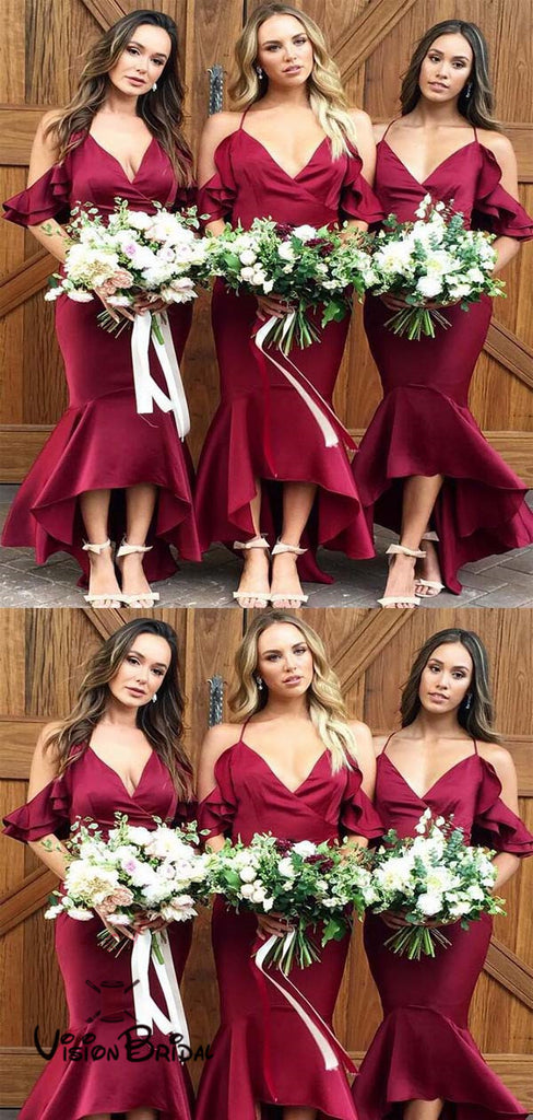 Unique Burgundy Halter Long Mermaid Bridesmaid Dresses With Ruffles, Bridesmaid Dresses, VB01401