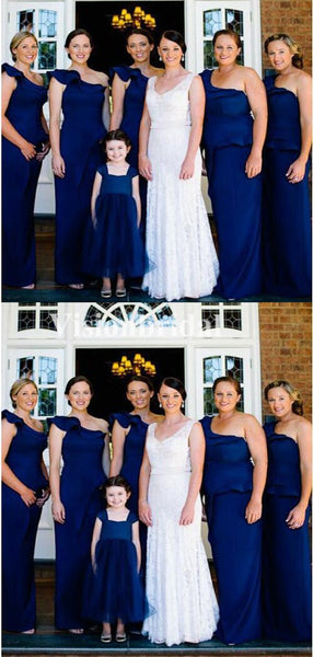 Unique Navy Blue One Shoulder Sheath Bridesmaid Dresses, VB02761