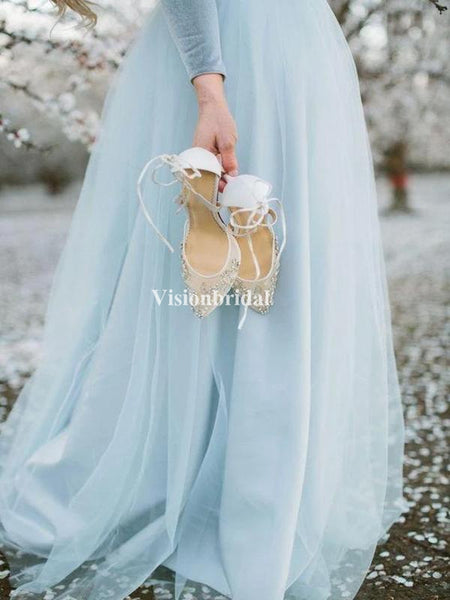 Elegant Deep V-Neck Long Sleeve A-Line Tulle Long Sleeve Prom Dresses, VB03656