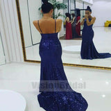 Sparkly Royal Blue Spaghetti Straps Open Back Zipper Up Sequin Prom Dress With Trailing, Prom Dresses, VB0772
