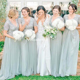 Shiny V-Neck Short Sleeve Long A-Line Tulle Bridesmaid Dresses, VB02835