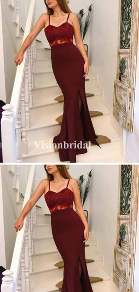 Alluring Burgundy Spaghetti Straps Mermaid Side Slit Prom Dresses With Lace, VB03382