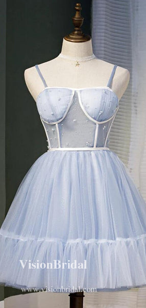 Classy Spaghetti Straps Shinny Tulle Homecoming Dresses, Homecoming Dresses, VB02568