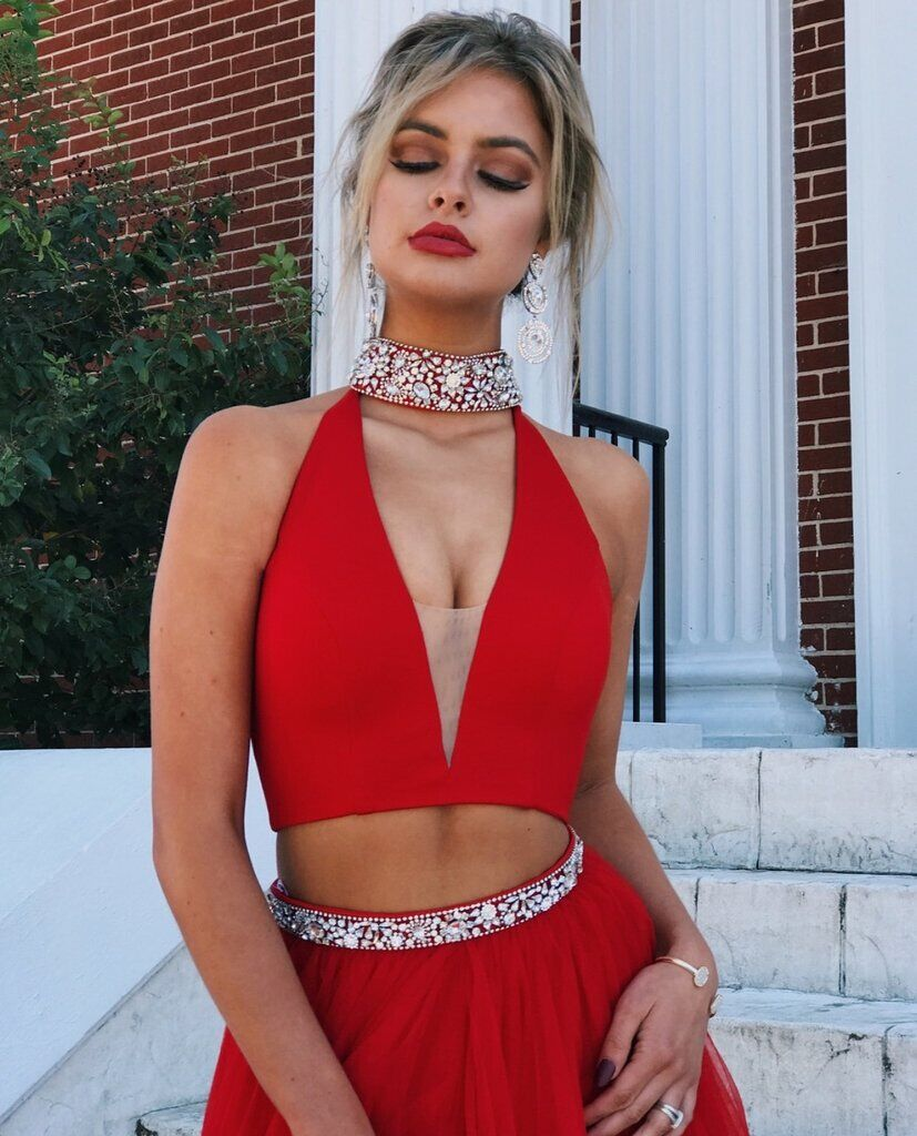 Red Halter V-neck With Beaded Two Pieces Prom Dress, Floor Length Side Slit Tulle Prom Dress, Prom Dresses, VB0238 - Visionbridal