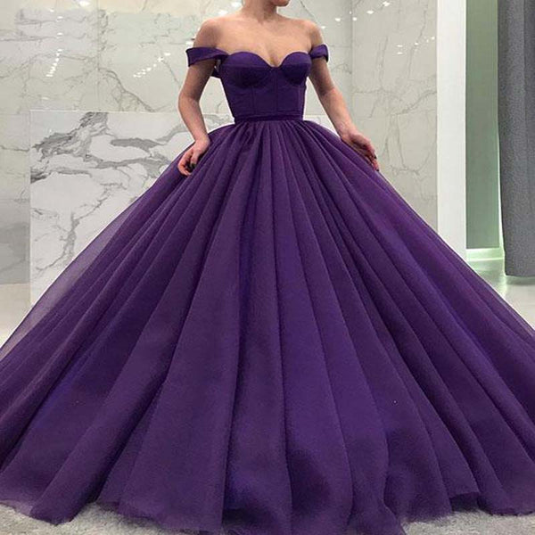 adf838ab1eb1 Gorgeous Purple Off Shoulder Ball Gown Prom Dresses