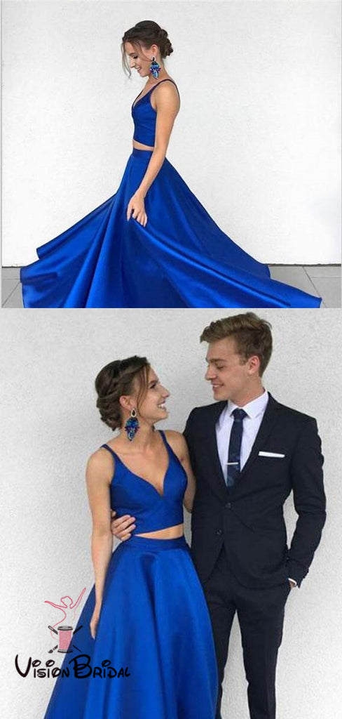 Simple Royal Blue V-Neck Two Piece Long A-Line Prom Dresses, Prom Dresses, VB01304