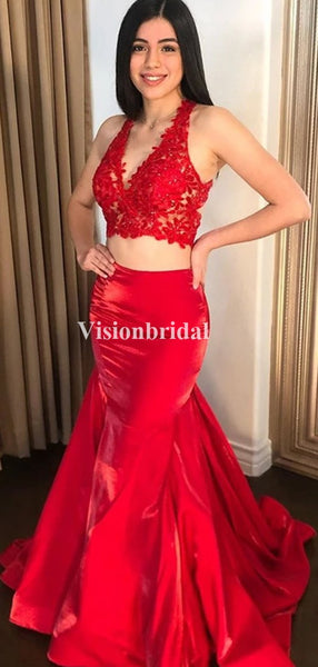 Amazing Red Two Pieces V-Neck Mermaid Prom Dresses, VB03664