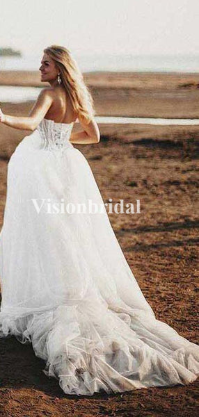 Elegant Sweetheart Lace Top Ball Gown Tulle Wedding Dresses, Lace Up Wedding Dresses, VB03359