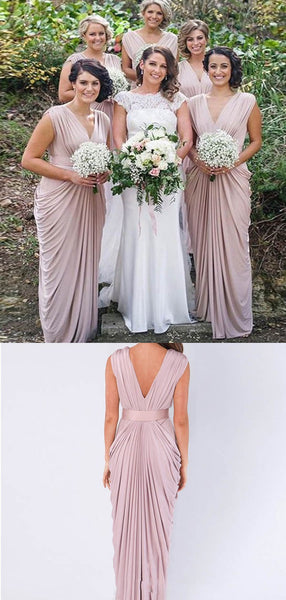 Comfortable Dusty Pink V-Neck Bridesmaid Dresses With Pleated, Bridesmaid Dresses, VB02212