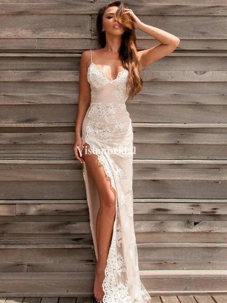 Simple Spaghetti Straps Mermaid Open Back With Lace Appliques Prom Dresses, VB03665